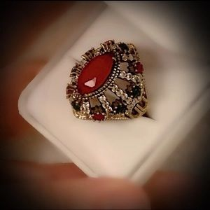 10 RUBY EMERALD ART RING Solid 925 Sterling/Gold